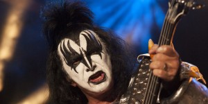 """HOLLYWOOD, CA - FEBRUARY 14: (EXCLUSIVE COVERAGE) Gene Simmons of KISS performs at Mending Kids International's """"Rock & Roll All-Stars"""" Fundraising Event on February 14, 2014 in Hollywood, California. (Photo by Michael Bezjian/WireImage)"""